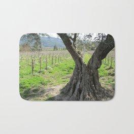 Olive tree in vineyard Bath Mat