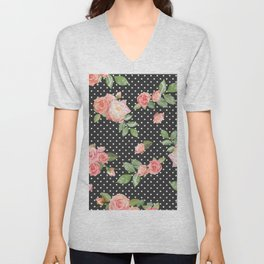 ROSES AND DOTS Unisex V-Neck