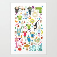 katamari Art Prints featuring KATAMARI DAMACY by Erin Lowe