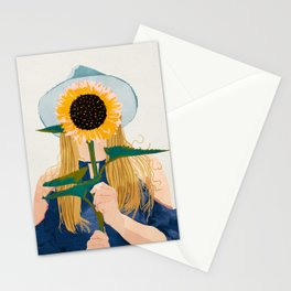 Miss Sunflower, Modern Bohemian Pastel Woman, Fashion Painting Illustration Stationery Cards