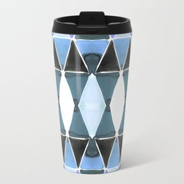 Art Deco Triangles Light Blue Travel Mug