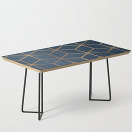 Dark Blue and Gold - Geometric Textured Cube Design Coffee Table