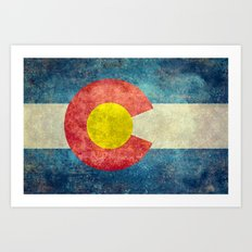 Colorado flag in Retro Grunge Art Print