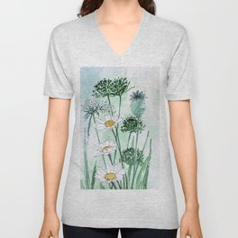 Thistles and Daisies Unisex V-Neck