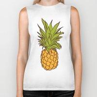 pineapples Biker Tanks featuring Pineapples by Stephanie Keir