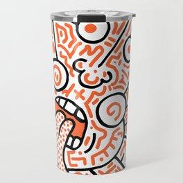 """The Face"" - inspired by Keith Haring v. orange Travel Mug"