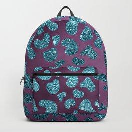 Trendy turquoise blue purple glitter gradient animal print Backpack