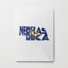 Nebraska Typographic Flag Map Art Metal Print