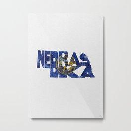 Nebraska Typographic Flag Map Art Metal Print