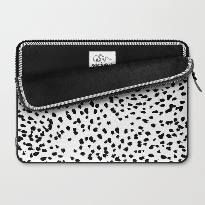 Nadia - Black and White, Animal Print, Dalmatian Spot, Spots, Dots, BW Laptop Sleeve