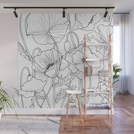 Poppies Line Drawing Wall Mural