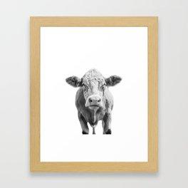 Highland Cow Portrait | Animal Photography | Black and White | Art Print Minimalism | Farm Animal Framed Art Print