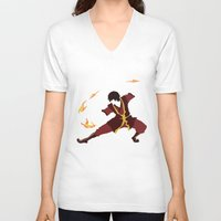 airbender V-neck T-shirts featuring Zuko by JHTY