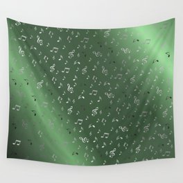 silver music notes metall green Wall Tapestry