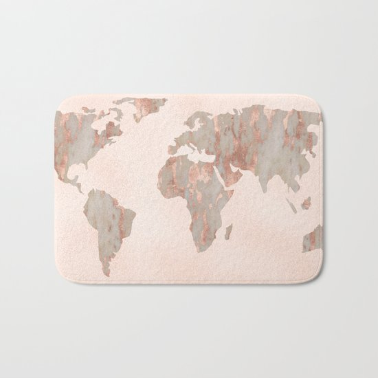 Rosegold Marble Map of the World Bath Mat