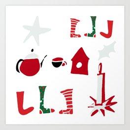 Christmas Cosy white Art Print