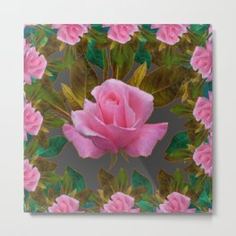 LEAFY PINK ROSE GARDEN & GREY PATTERNS ART Metal Print
