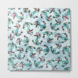 Vintage style floral nautical anchor teal glitter Metal Print
