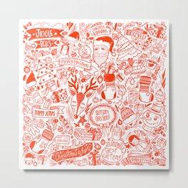 Red detailed Fun Christmas Doodle Pattern Metal Print