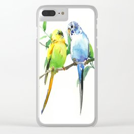 Budgies, Animal art, love, two birds bird artwork Clear iPhone Case