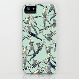 dog party indigo mint iPhone Case