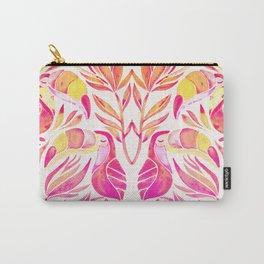 Tropical Toucans – Pink & Melon Ombré Carry-All Pouch