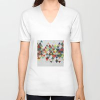 xbox V-neck T-shirts featuring Colorful Triangles by Dizzy Moments