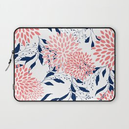 Festive, Floral Prints and Leaves, Navy Blue, Pink and White Laptop Sleeve