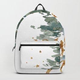 Christmas Tree Watercolors Noel Gold Typography Backpack