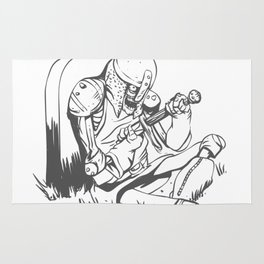 Illustration of a knight  wounded during a medieval battle Rug