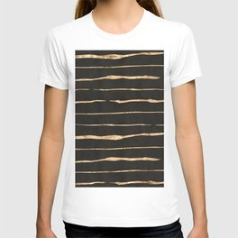 Black and rose-gold abstract stripes T-shirt