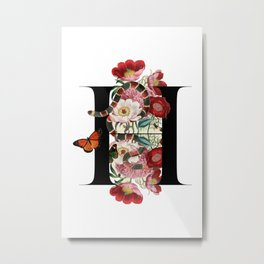 H - Guccy Alphabet - Fashion Flowers Monogram Snakes Letters Metal Print