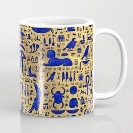 Egyptian hieroglyphic Lapis Lazuli and Gold Coffee Mug