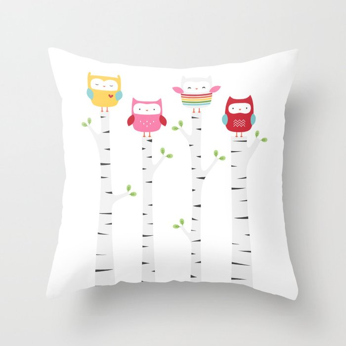 Treetop Owls Throw Pillow