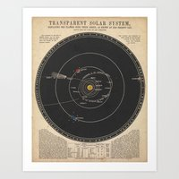 solar system Art Prints featuring Solar System by Le petit Archiviste