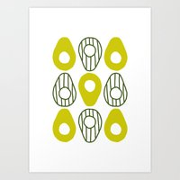 avocado Art Prints featuring Avocado by curious creatures