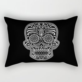 Intricate White and Black Day of the Dead Sugar Skull Rectangular Pillow