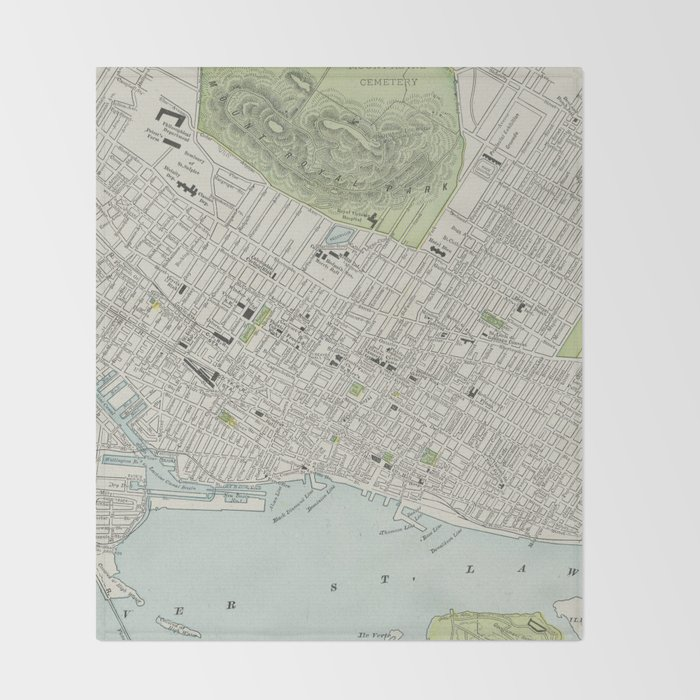 Vintage Map of Montreal (1901) Throw Blanket by bravuramedia | Society6