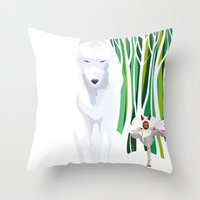princess mononoke Throw Pillows featuring Princess Mononoke by youcoucou