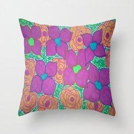 Bold Summer Flowers Throw Pillow