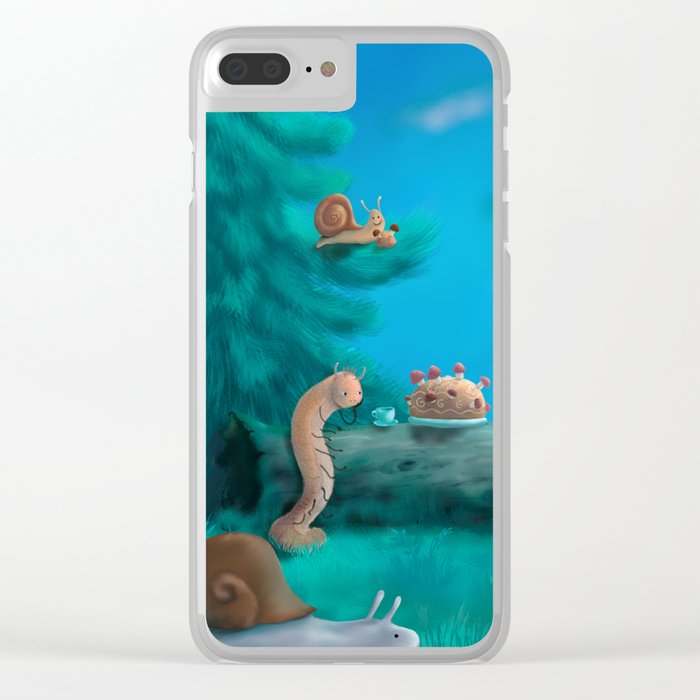 Forest dinner with caterpillars Clear iPhone Case