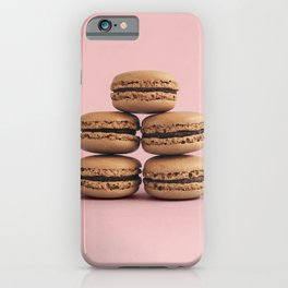Macaroons on pink background iPhone Case