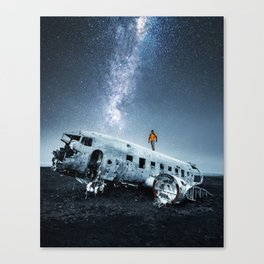 airplane wreck in iceland Canvas Print