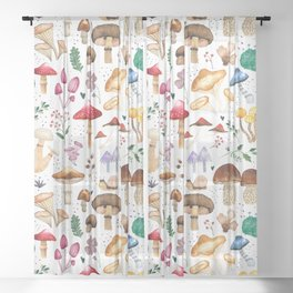 Watercolor forest mushroom illustration and plants Sheer Curtain