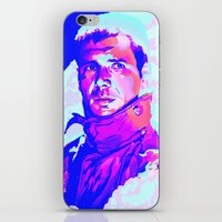 blade runner iPhone & iPod Skins featuring RICK DECKARD // BLADE RUNNER by mergedvisible