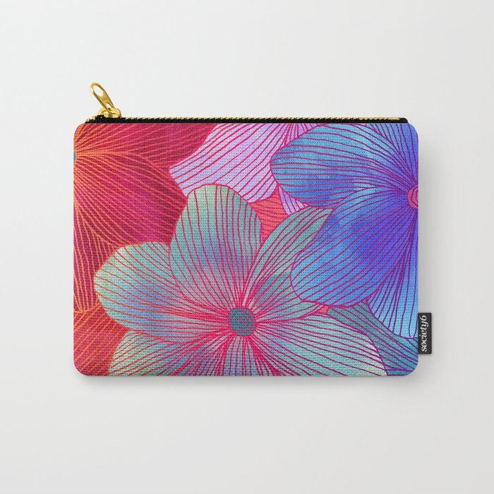 Between the Lines 2 - tropical flowers in purple, pink, blue & orange Carry-All Pouch