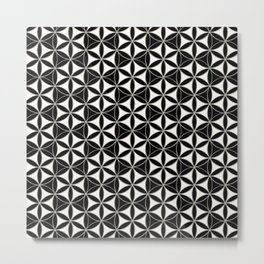 Flower of Life Pattern black-white Metal Print