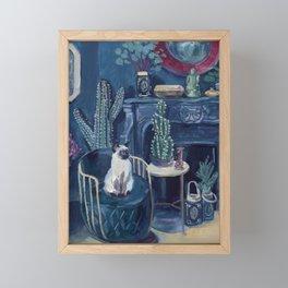 Judgy Cat in Gouache  Framed Mini Art Print