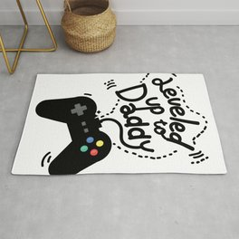 Leveled Up To Daddy Gamer Video Funny New Dad Gifts Rug
