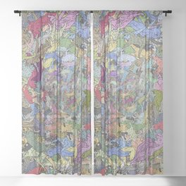 Colorful Flying Cats Sheer Curtain